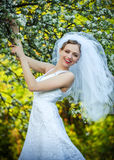 Bride posing in her wedding day Royalty Free Stock Photography
