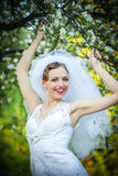 Bride posing in her wedding day Royalty Free Stock Image