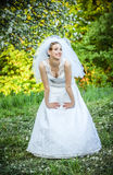 Bride posing in her wedding day Stock Image