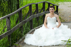 Bride posing in nature Royalty Free Stock Image