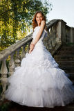 Bride posing on old stairs Royalty Free Stock Photography