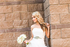 Bride posing outdoors - soft focus Stock Photography