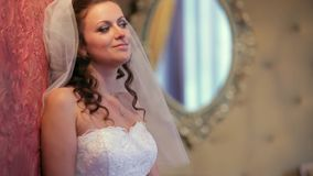 Bride Posing In A Room With A Mirror stock footage