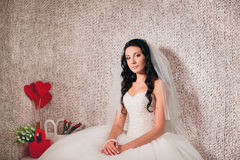 Bride posing in studio. Beautiful Bride posing in studio Royalty Free Stock Photos