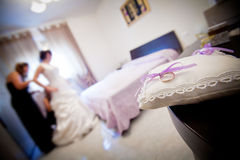 A bride preparing for her wedding day. royalty free stock photo