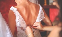 The bride is preparing for the wedding ceremony royalty free stock photography