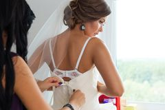 Bride preparing for a wedding Royalty Free Stock Image