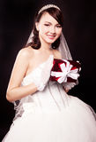 Bride with a present Royalty Free Stock Photography