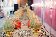 Bride price set in deluxe plate in Thai wedding ceremony. traditional wedding ceremony. image for background, wallpaper, objects,. Article, illustration and stock photography