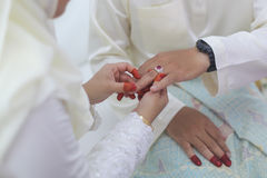 Bride put a wedding ring on groom hand. Royalty Free Stock Photo