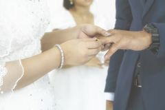 Bride Put the Wedding Ring to Her Groom in the Wedding Ceremony. Vintgae Style Picture with Gain Added. Bride Put the Wedding Ring to Her Groom in the Wedding royalty free stock photography