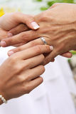Bride puts ring on Groom. Husband and wife's hands with wedding ring. Bride puts silver band on grooms finger Stock Images