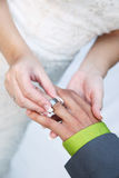 Bride puts ring on Groom Stock Photography