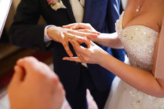 Bride puts a ring on groom's finger delicately.  Royalty Free Stock Image