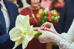 Bride puts ring to groom on wedding ceremony Royalty Free Stock Photography