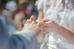 Bride putting a ring on groom's finger Stock Photos