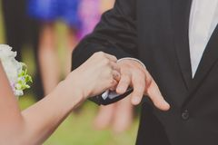 Bride is putting a ring on groom's finger Stock Photography