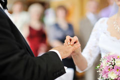 Bride putting a wedding ring on groom's finger Royalty Free Stock Photo