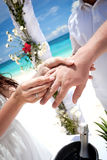 Bride putting a wedding ring on groom's finger Stock Image