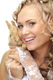 Bride with a rabbit Stock Image