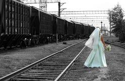 The bride on railway Stock Image