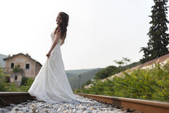 Bride on a railway Stock Image