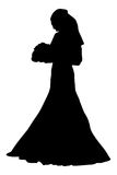 Bride realistic silhouette vector illustration Royalty Free Stock Photos