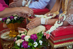 A bride receiving holy water from elders in thai culture. Hand of a bride receiving holy water from elders in thai culture wedding ceremony Stock Photos