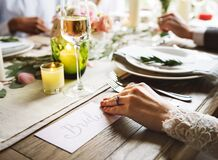 Bride at reception table