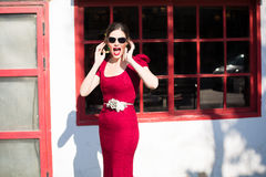 A BRIDE IN A RED GOWN Royalty Free Stock Photography
