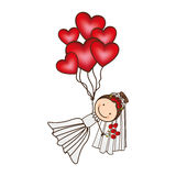 bride with red heart balloons in the hands Royalty Free Stock Images