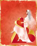Bride with red heart and roses,  Royalty Free Stock Image