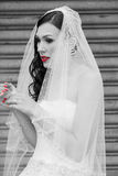A bride with red lips and red nails Stock Photos