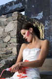 Bride with Red Paint Stock Photography