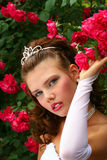Bride in the Red Roses royalty free stock photos