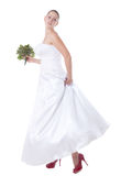 Bride with red shoes Royalty Free Stock Images