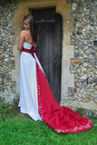 Bride in red and white dress. Bride in red and white wedding  dress Stock Images