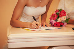 Bride in the registry office Stock Images