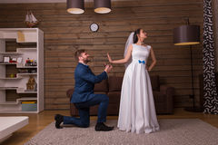 Bride rejects marriage proposal of the groom Stock Photo