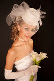 Bride in retro hat Royalty Free Stock Photography