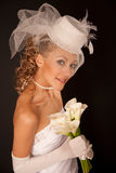 Bride in retro hat Royalty Free Stock Images