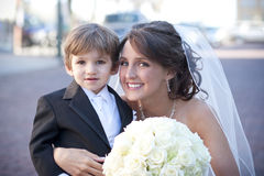 Bride with Ring Bearer stock image