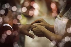 Bride with rings. Husbands during the wedding royalty free stock photo
