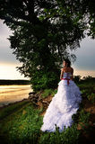 Bride at the riverside, back view Royalty Free Stock Images