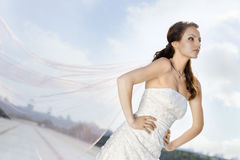 Bride on the road. Portrait of bride on the road Stock Photos