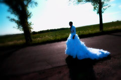 Bride on road. Runaway bride on rural road, cross-processed photo Royalty Free Stock Image