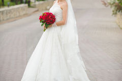 Bride on Road Stock Photo