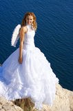 Bride on rock Royalty Free Stock Photos