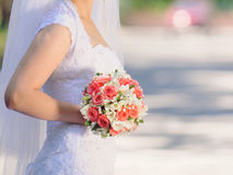 Bride with Rose Bouquet Stock Photography