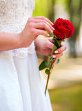 Bride with rose bouquet Royalty Free Stock Photos